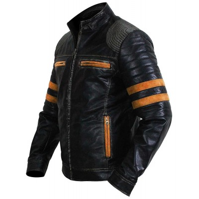 Mens Quilted Cafe Racer Leather Jacket