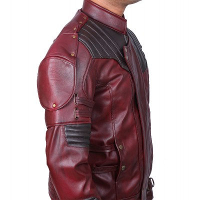 Guardians of Galaxy Vol 2 Star Lord OX Blood Two Tone Red Leather Jacket