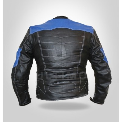 Black Blue a la mode Motorcycle perceptible Armor Leather Jacket