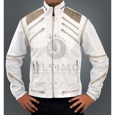 Michael Jackson Beat It White Faux Leather Jacket