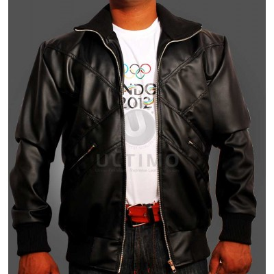front x style black Faux Leather Jacket